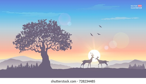 Beautiful view on a big tree and mountains and a two deers during dawn. Stylish vector illustration