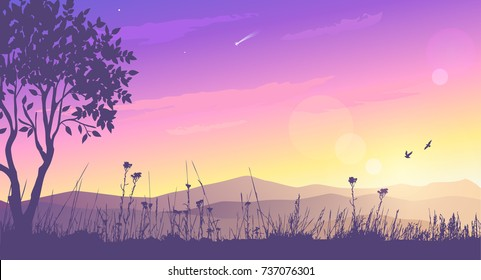 Beautiful view on a mountains and amazing lilac sunset. Stylish vector illustration