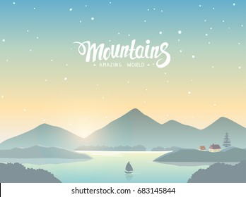 Beautiful view on a mountains and lake. Amazing sunrise. Vector illustration. Panorama of the nature