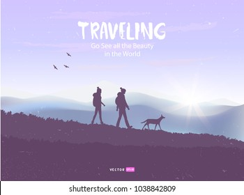 Beautiful view on mountains with silhouette of couple and with dog. Amazing sunrise. Vector illustration. Panorama of the nature. Traveling