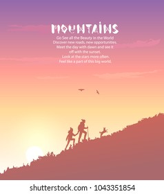 Beautiful view on mountains with silhouette of couple and with dog. Amazing sunrise. Vector illustration. Panorama of the nature. Traveling climb