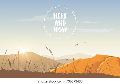 Beautiful view on a mountains and sky with sample text. Stylish vector illustration