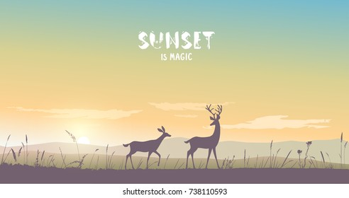 Beautiful view on a mountains and a two deers during sunset. Stylish vector illustration