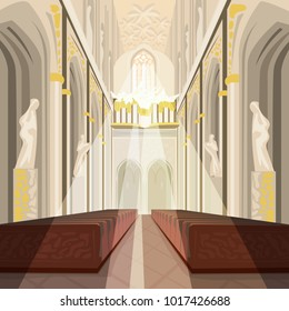 Beautiful view on nave from altar inside Cathedral Church. Interior of Catholic Basilica with sun rays from windows. Simplified realistic hand draw comic art style. Vector illustration