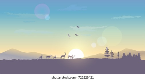 Beautiful view on a sky and mountains and a herd of deer during dawn. Stylish vector illustration