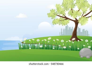 Beautiful view of riverside.Lakeside scenery illustration.
