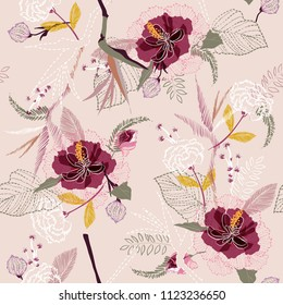Beautiful Vintage artistic tropical flower pattern on sketch line dash seamless pattern vector on light nude pink background