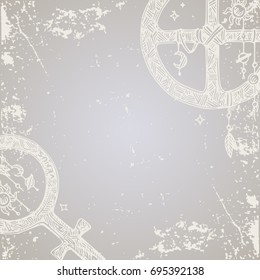 Beautiful vintage background with symbols of the planets of the solar system. Vector illustration.