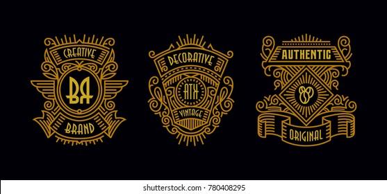 Beautiful Vintage Badges Modern Minimalism Line Art Ornament Frame Decorative  Old Fashioned Graphic Design Old Retro Element Hipster Label