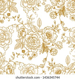 Beautiful vintage chinese ink flowers and leaf in chinoiserie style for fabric or interior design. Hand drawn vector seamless pattern.