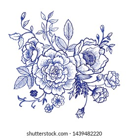 Beautiful vintage chinese ink flowers and leaf in chinoiserie style for fabric or interior design. Hand drawn vector illustration.