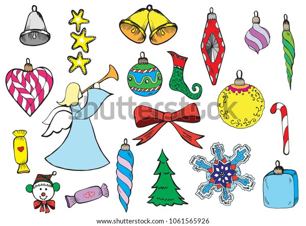 Beautiful Vintage Christmas decorative elements set. EPS vector file arranged in layers for easy editing.