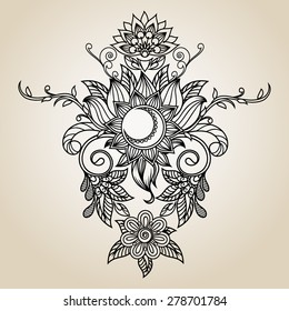 Beautiful vintage ethnic pattern - hand drawing illustration
