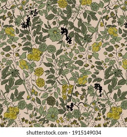 Beautiful vintage Floral pattern in the many kind of flowers. Tropical botanical Motifs scattered random. Seamless vector texture.fashion prints. Printing with in hand drawn style on green flower