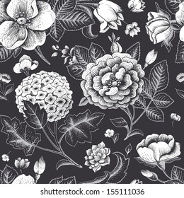 Beautiful vintage floral seamless pattern. Garden roses, hydrangea and dog-rose flower on a black background. Vector illustration. Black and white color.