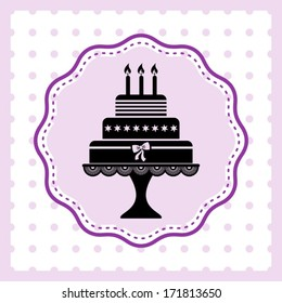 Beautiful vintage happy birthday card with cake silhouette