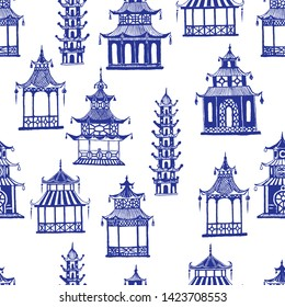 Beautiful vintage ink chinese pagodas in chinoiserie style for fabric or interior design. Hand drawn vector seamless pattern.