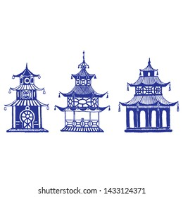 Beautiful vintage ink chinese pagodas in chinoiserie style for fabric or interior design. Hand drawn vector illustration.