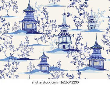 Beautiful vintage ink chinese pagodas, mountains, trees in chinoiserie style for fabric, interior design. Hand drawn landscape vector seamless pattern.