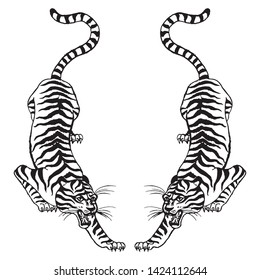 Beautiful vintage ink chinese tiger in chinoiserie style for fabric, interior design, tattoo etc. Hand drawn vector illustration.