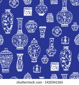 Beautiful vintage ink chinese vases in chinoiserie style for fabric or interior design with flowers and decoration. Hand drawn vector illustration. Seamless pattern.
