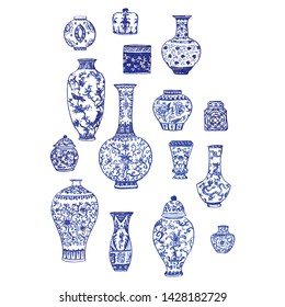 Beautiful vintage ink chinese vases in chinoiserie style for fabric or interior design with flowers and decoration. Hand drawn vector illustration.