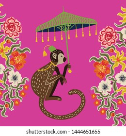 Beautiful vintage monkey in chinoiserie style with umbrella for fabric or interior design. Hand drawn vector illustration.