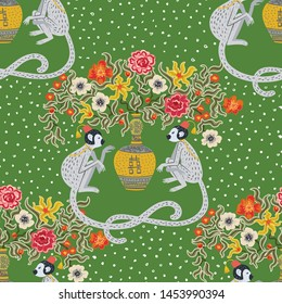 Beautiful vintage monkeys in chinoiserie style with flowers for fabric or interior design. Hand drawn vector illustration. Seamless pattern.