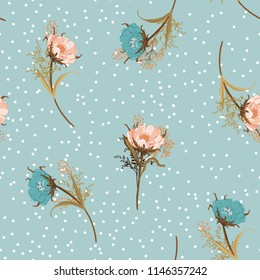 Beautiful vintage pastel Blowing garden flowers seamless pattern vector with scattered white polka dots on retro sky blue background for fashion,fabric and all prints