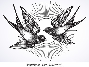 Beautiful vintage retro style illustration of two flying swallow birds. Hand drawn vector artwork isolated on white. Elegant tattoo design, freedom, dark romance. Print, poster, t-shirts and textiles.