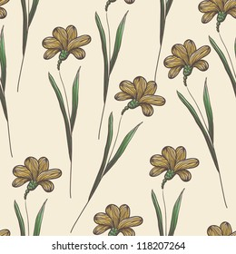 Beautiful vintage seamless floral background