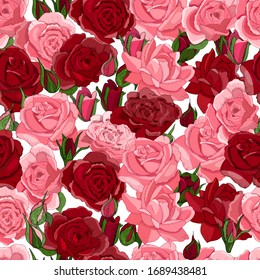 Beautiful vintage seamless floral pattern with roses. Template design for textiles, interior, clothes, wallpaper. Greeting card and invitation of the wedding, birthday, Valentine s Day, mother s day