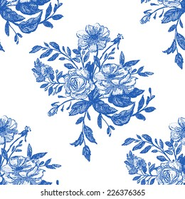 Beautiful vintage seamless floral pattern background. Flower bouquets of roses on white background