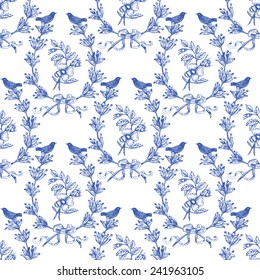 Beautiful vintage seamless floral pattern background. Birds, wreath with olives and classical roses