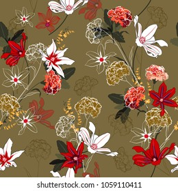 Beautiful vintage Seamless pattern vector a garden coloful   flowers are blooming and gentle mix with outline stoke on stylish beige background,for fashion fabric and all prints