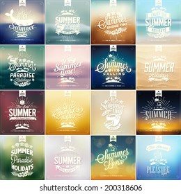 Beautiful Vintage Seaside Summer View Poster. Vector background. With Typography - Set of calligraphic elements, frames, labels. Ribbons, - all for Holidays