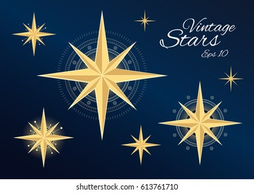 Beautiful vintage stars isolated on dark blue background. High detailed vector illustration in retro style