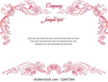 beautiful vintage template background with ink style floral ornament. all detail are separated. It easy to regroup, recolor, mirrored part, or do any changes