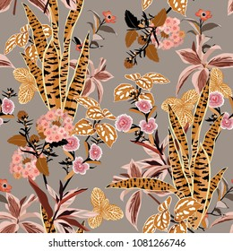 Beautiful vintage vector seamless beautiful artistic bright tropical pattern with exotic forest. Colorful original stylish floral background print, bright rainbow colors on sweet grey color