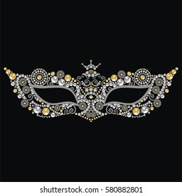 Beautiful vintage venetian carnival mask with silver and gold precious stones, isolated on black background pattern, embroidery, trendy print t-shirts. Mardi Gras masquerade ball  -  vector.