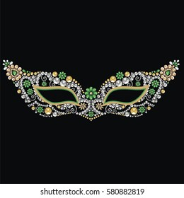 Beautiful vintage venetian carnival mask with silver, emerald and gold precious stones, isolated on black background pattern, embroidery, trendy print t-shirts. Mardi Gras masquerade ball - vector.