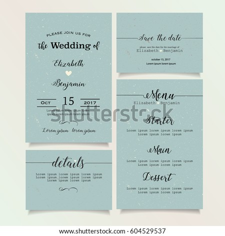 beautiful vintage wedding invitation card details card save the date card menu card - Wedding Invitation Details Card