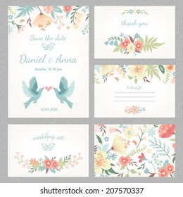 Beautiful vintage wedding set with cute flowers and love birds. Wedding invitation, thank you card, save the date cards. RSVP card. Vector illustration.