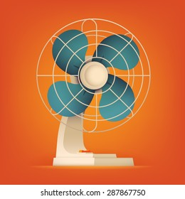 Beautiful volumetric vector ventilator fan illustration on red orange background. Table cooling fan isolated