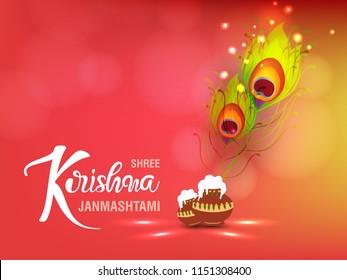 "Beautiful Wallpaper Design with Hand Lettering Text ""Shree Krishna Janmashtami"" for Hindu Festival Janmashtami."