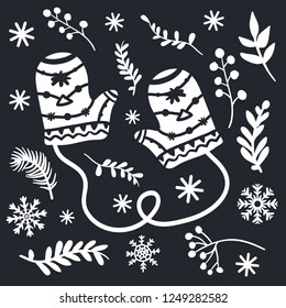 Beautiful warm mittens among season plants and snowflakes. Christmas illustration for card design. Laser or paper cutting template.