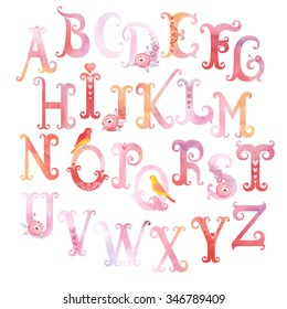 Beautiful watercolor alphabet with birds, flowers and hearts, vector illustration.