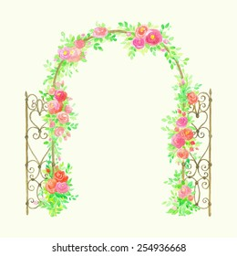 Beautiful watercolor arch with blooming roses.