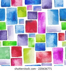 beautiful watercolor painting - seamless pattern of rectangles, texture paint and paper - hand drawn vector illustration for wrappers, textiles, wallpaper, surface