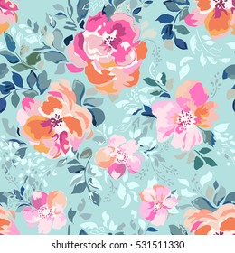 beautiful watercolor roses, bright painting inspired flower print ~ seamless background
